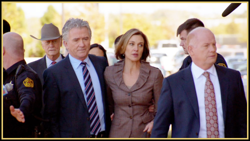 Bobby, Ann and J.R. arrive at the courthouse for Ann's trial (image: TNT)