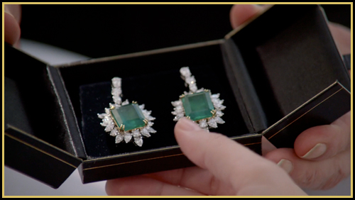 Cliff gives Pamela her aunt Katherine's earrings, and her share of Barnes Global (image: TNT)